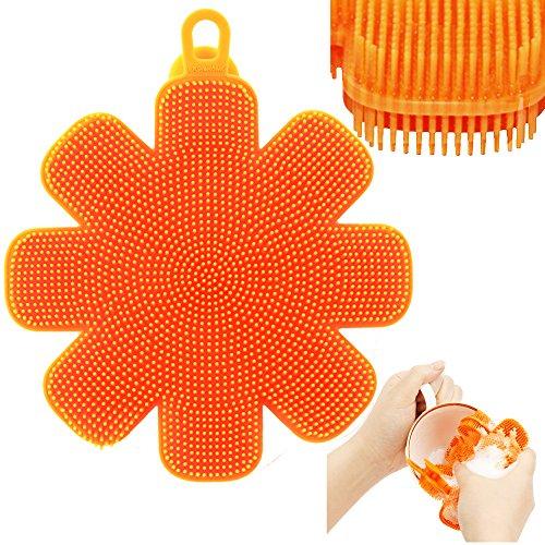 Jalousie Antibacterial Silicone Dish Scrubber Sponge Brush For Dishwashing,