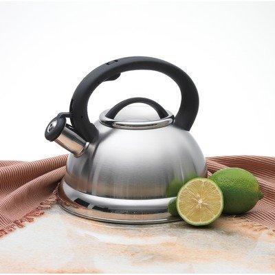 Alpine Stainless Steel Finish Encapsulated Base 1810 Whistling Tea Kettle Pot