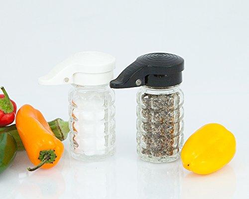 Moisture Proof Salt & Pepper Shakers, Black & White Lids Spring Loaded, No Clog, 1.5 Oz, Set Of 2 By Tumbler Home