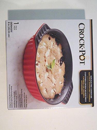 Crock Pot Non-Electric Cookware Non-Stick Stoneware Casserole Round