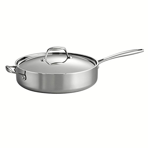 Tramontina 80116018DS Gourmet 1810 Stainless Steel Induction-Ready Tri-Ply Clad Covered Deep Saute Pan 5-Quart Stainless