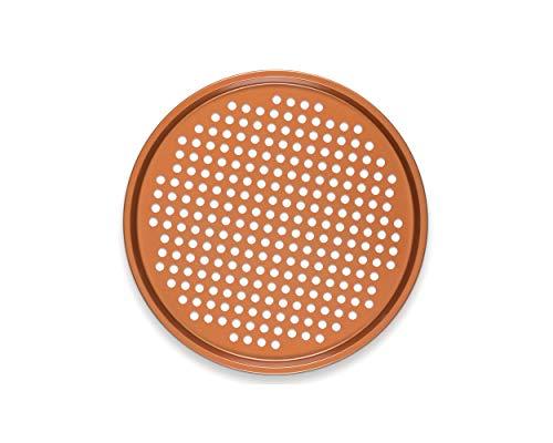 CLM 13 Ceramic Coated Copper Pizza Pan - Premium Nonstick Bakeware Dishwasher Oven Safe PTFEPFOA Free - Baking Tray for Crispy Even Crust
