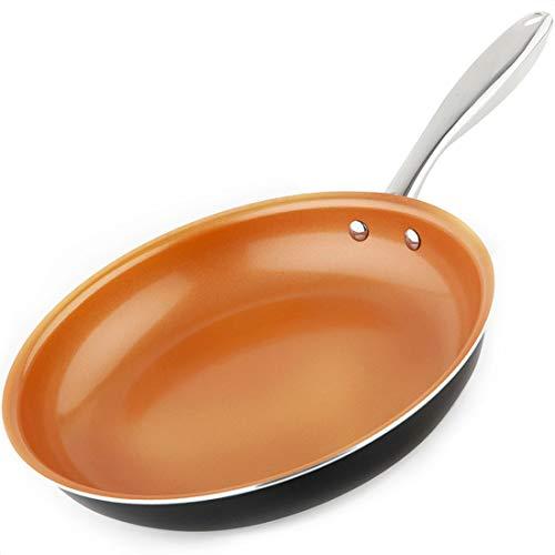 MICHELANGELO Copper Frying Pan Nonstick 11 Inch Frying Pan with Ultra Nonstick Titanium Coating Nonstick Copper Skillet 11 Inch Copper Pan Ceramic Frying Pan Nonstick - 11 Inch