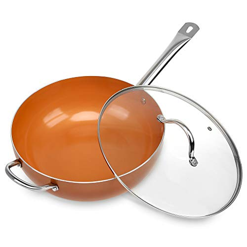 SHINEURI 12 Inch Nonstick Ceramic Woks and Stir Fry Pans with Lid Copper Skillet with Stainless Steel Helper Handle Saute Pan for Induction Gas Electric Ceramic Glass Stovetops