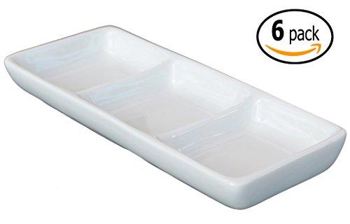 3-Compartment Ceramic Sauce Dish and Pan Scraper 7 inch x 3 Inch Bone White 6