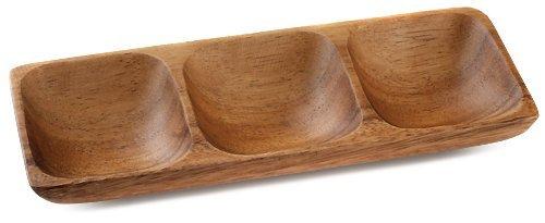 Acacia Wood 3 Compartment 78 x 75 Sauce Dish