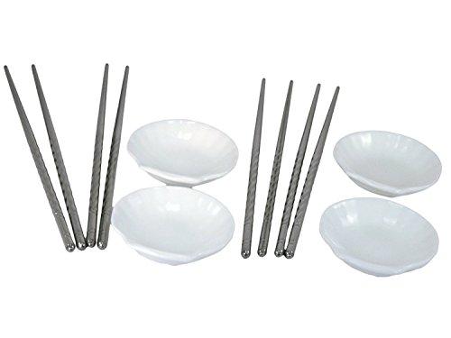 TukTek Ceramic Seashell Sushi Dipping Soy Wasabi Sauce Dish Set - 4 Serving Bowls w 4 Sets of Stainless Steel Chopsticks