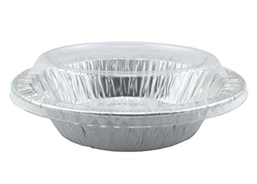 Aluminum Foil Mini Pie PansTart Pans 4-18 Mini Pot Pie Baking Plate With Plastic Clear Lids 10 Sets 10 Pans 10 Lids