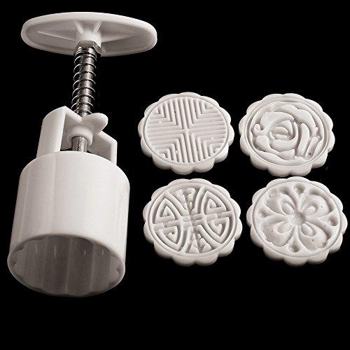 Sealands 50g DIY Tool Round Shape Cake Mold Mooncake Bakeware Baking Molds 4 Flowers Decoration
