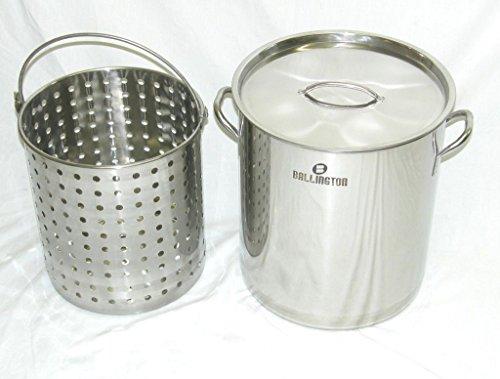 Ballington 42-Quart Stainless Steel Stock Pot w FrySteamerBoil Basket Lid