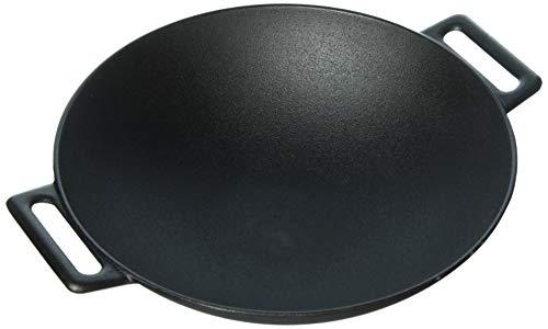Jim Beam JB0200 12 Pre Seasoned Heavy Duty Construction Cast Iron Grilling Wok Large Black