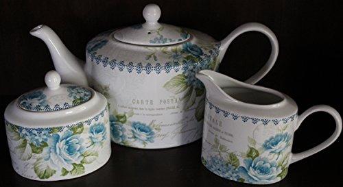 222 Fifth Bijou Rose Blue Teapot Creamer and Sugar Set
