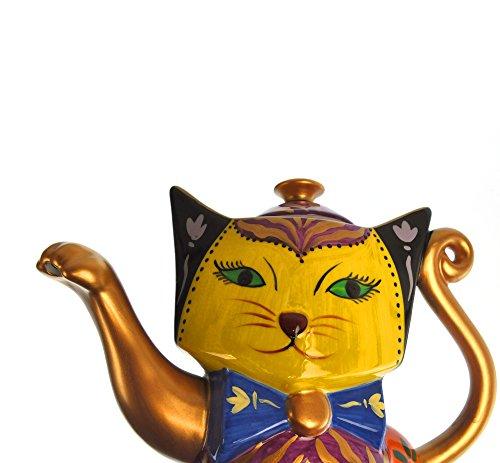 Golden Cat Teapot - Blue Orange - Hand painted Porcelain