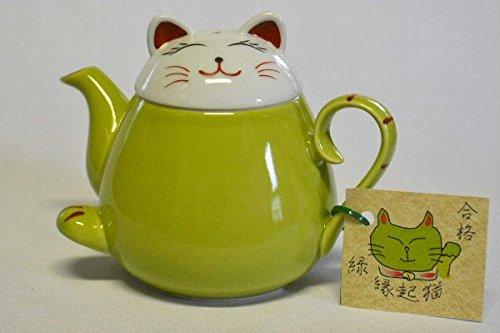 Takayama Pottery Green Beckoning cat Teapot HasamiYaki 340ml from Japan