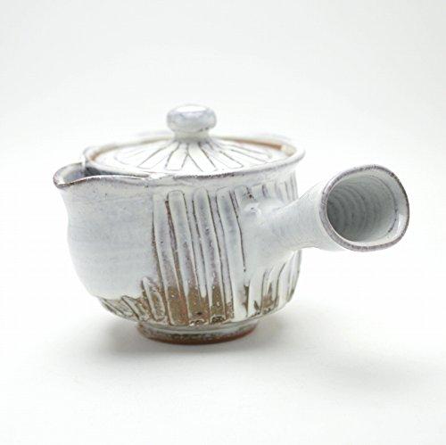 Hagi yaki Japanese ceramic White kyusu teapot made by Yuuka Matsuo