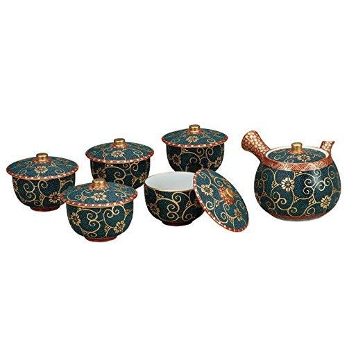 Japanese drawn Ceramic Porcelain kutani ware Japanese kyusu teapot cup set with wooden box Clematis Japanese ceramic Hagiyakiya K4-821
