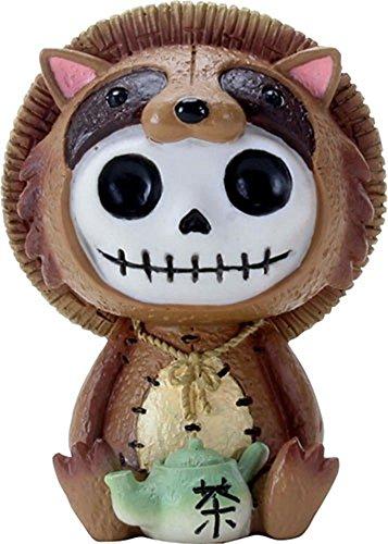 3 Tanuki White Skeleton in Brown Raccoon Costume with Green Teapot