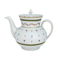Haviland Vieux Paris Green Teapot Large 44 Oz