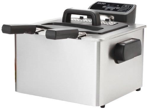 Aroma Smart Fry Xl 4-quart Digital Dual-basket Deep Fryer, Stainless Steel