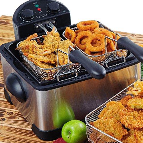 Secura 4.2l/17-cup 1700-watt Stainless-steel Triple-basket Electric Deep Fryer, With Timer