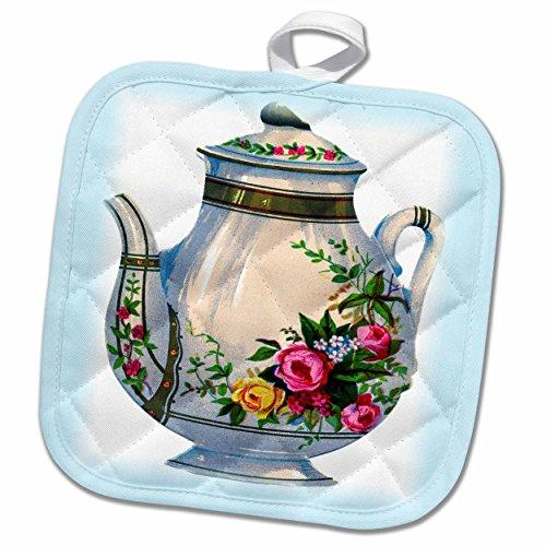 3dRose Florene Vintage - Victorian Floral Teapot - 8x8 Potholder phl_43813_1