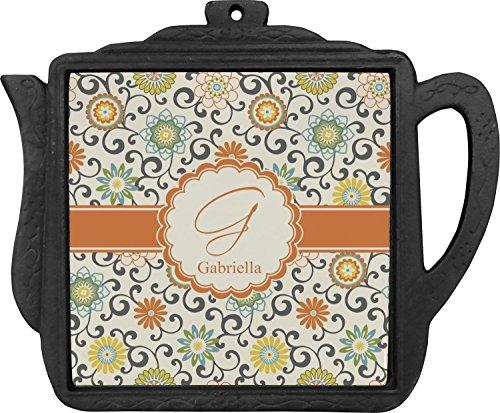 Swirls Floral Teapot Trivet Personalized