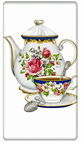 Victorial Floral Teapot 100 Cotton Flour Sack Dish Tea Towel - Mary Lake Thompson 30 x 30