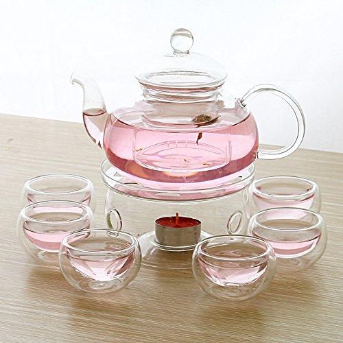 StarForest New Version 28 OZ Glass Filtering Tea Maker Teapot with a Warmer and 6 Tea Cups Set