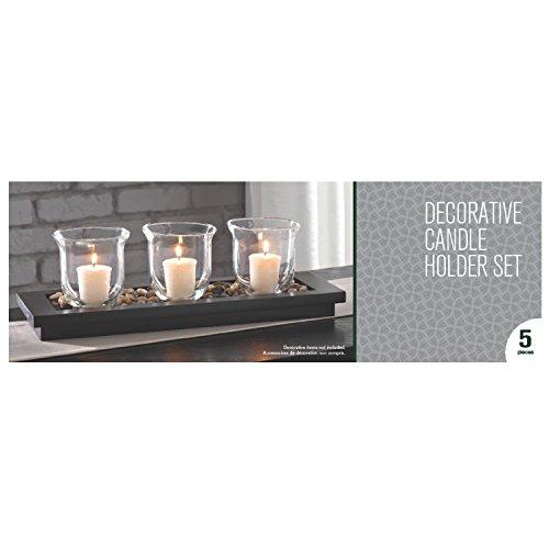Hosleys 16 Long Decorative Candle Holder Set - Holders 3 Votive Candles