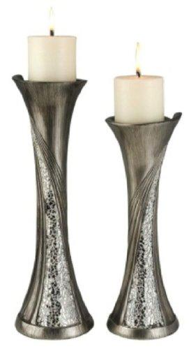 Ore International K-4218C Decorative Candleholder Set Silver