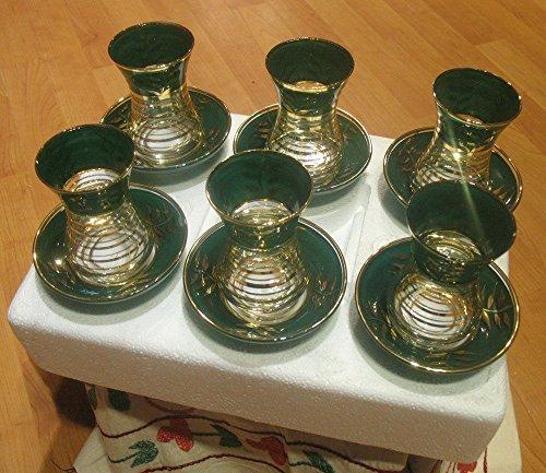 6 pieces gold plated turkish tea glasses tea set  6