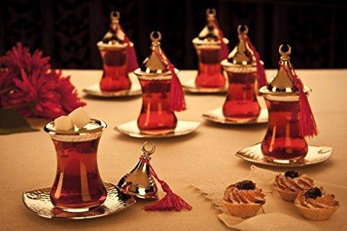 6x Turkish Tea Glasses Set with Saucers Turkish Tea Cups