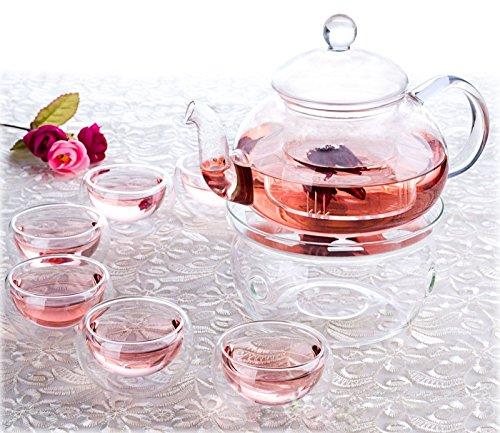 Glass Tea Set ~ 6 Double Wall Glass Teacups  Glass Teapot  and Warmer Heat Resist Infuse Borosilicate Toughened Glass