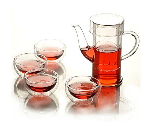 Heat-resistant glass tea set 1 glass tea pot 4 Double-deck glass cup