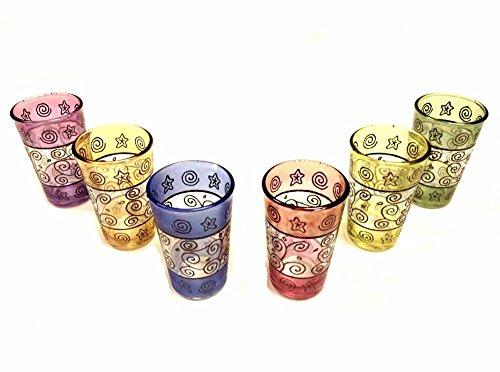 Moroccan 6 Pieces Multicolor Tea Glasses Set Artisan Glass Cup Shot Wine Tumbler