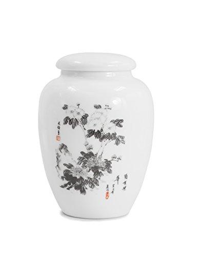 Dahlia Oriental Ink Painting Porcelain Tea Tin Tea Storage Tea Caddy Tea Canister Chrysanthemum