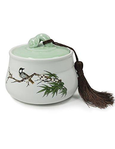 Dahlia Vintage Bird Matte Finish Porcelain Tea Storage Tea Caddy Tea Canister with Tassel