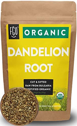 Organic Dandelion Root  Loose Tea 200 Cups  16oz453g Resealable Kraft Bag  100 Raw From Bulgaria  by Feel Good Organics