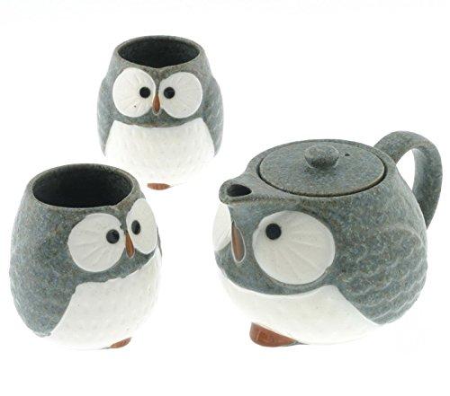 12 Blue Owl Ceramic Tea Set