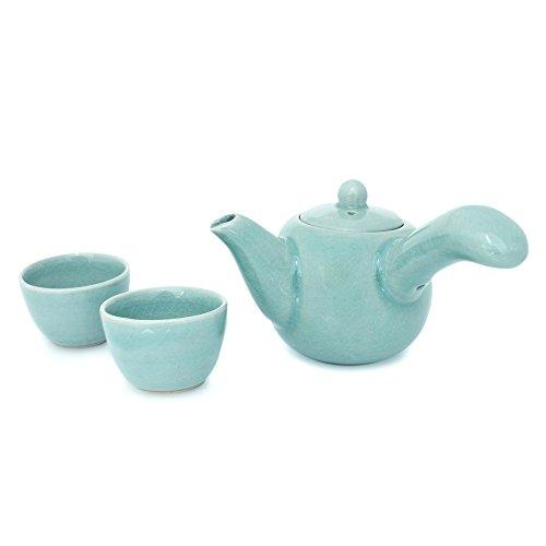 NOVICA Celadon ceramic tea set Set For 2 Chiang Mai Sky