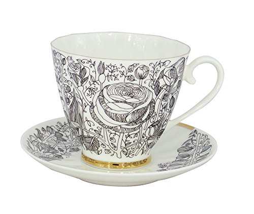 Lomonosov Porcelain Bone China Tea Set 68 oz200 ml Black Summer 2pc