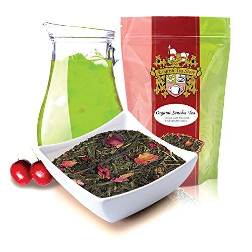 English Tea Store Loose Leaf Organic Sencha Kyoto Cherry Rose Festival Green Tea Patches 4 Ounce