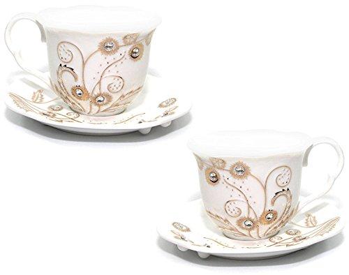 Euro Porcelain Rococo 4-pc Coffee Tea Cup Set 24K Gold-plated w Swarovski Design inlaid Rhinestones Bejeweled Bone China Cups 8 oz w Square Saucers Service for 2