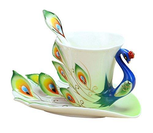 niceeshopTM Hand Crafted China Enamel Porcelain Tea Mug Coffee Cup Set with Spoon and Saucer Green