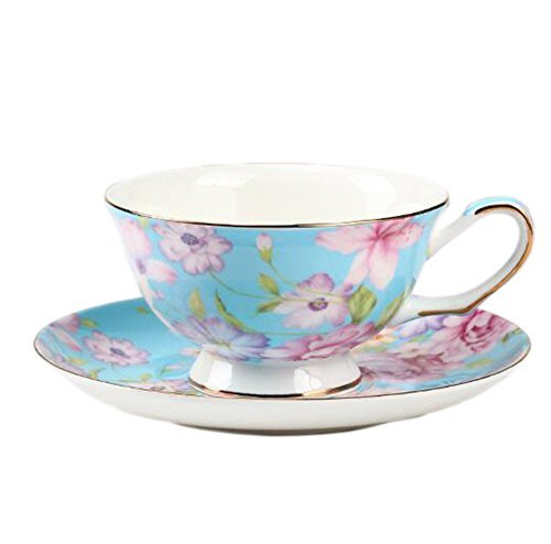 ufengke European Bone China Coffee Cup Afternoon Tea Coffee Cup with Saucer Ceramic Tea Sets for Gift Hand-Painted Flower Blue