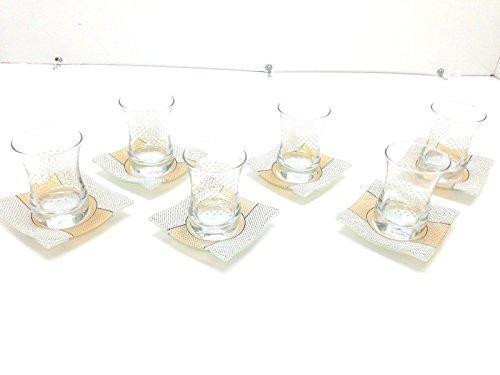 12 Pieces Adorable Turkish Tea Set Tea Glass Saucers Dots Lines
