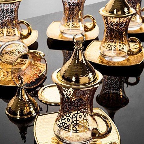6x Turkish Tea Gold Colour Glasses Set with Saucers Turkish Tea Cups Turkish Tea Glasses