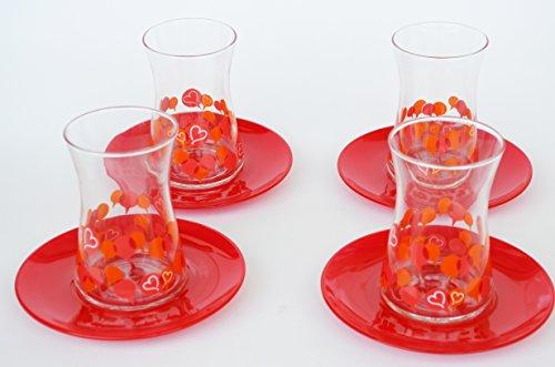 8 PCS Turkish Tea Set Modern Design Turkish Tea Glasses and Plates