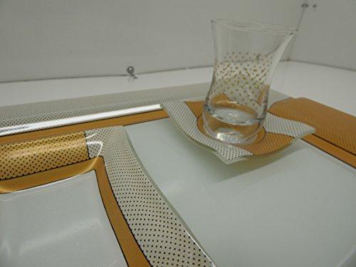 Glore 14 Pieces Fancy Turkish Tea Set Tea GlassesSaucersTraySugar Bowl Dots