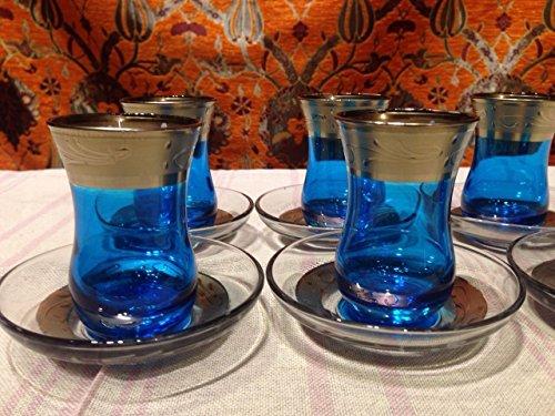 Turkish tribal tea set tea glasses ottoman glass cups one of a kind guest tea set no  010